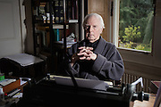 Controversial art critic Brian Sewell poses for a portrait during Chemotherapy whilst fighting the battle for cancer at his home in Wimbledon, London on Thursday 5 March 2015.<br /> <br /> Photos by Ki Price