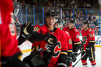 PENTICTON, CANADA - SEPTEMBER 10: Spencer Foo #15 of Calgary Flames celebrates his second goal of the game against the Vancouver Canucks on September 10, 2017 at the South Okanagan Event Centre in Penticton, British Columbia, Canada.  (Photo by Marissa Baecker/Shoot the Breeze)  *** Local Caption ***
