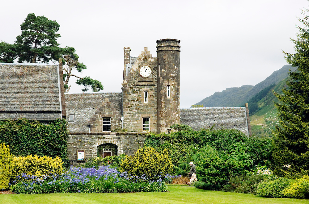 Benmore Botanic Garden near Dunoon, Cowal, Scotland, UK. Courtyard buildings. Important East Asian tree and plant collection