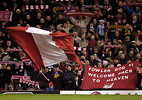 Photo: Jed Wee.<br />Liverpool v Birmingham City. Barclays Premiership. 01/02/2006.<br />Liverpool fans welcome Robbie Fowler back to Anfield.