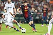 Lionel Messi during the Supercopa 1st leg match at the Nou Camp, Barcelona, Spain between FC Barcelona and Real Madrid on 23rd August 2012.