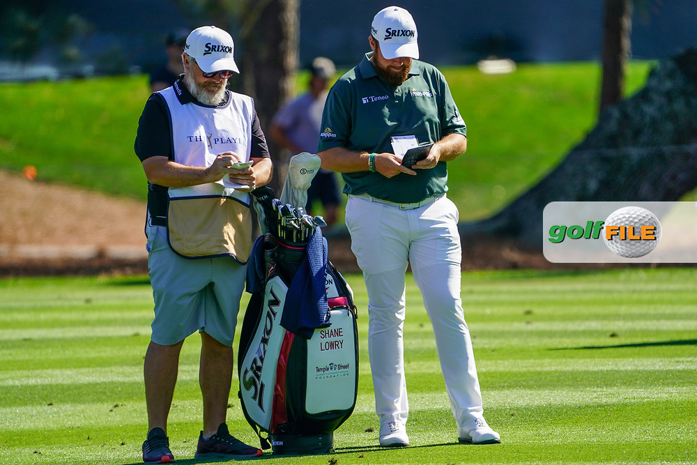 Shane Lowry (IRL) and caddy Brian Martin during Round 1 of the Players Championship, TPC Sawgrass, Ponte Vedra Beach, Florida, USA. 12/03/2020<br /> Picture: Golffile | Fran Caffrey<br /> <br /> <br /> All photo usage must carry mandatory copyright credit (© Golffile | Fran Caffrey)