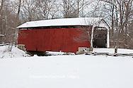 63904-03304 Beeson Covered Bridge at Billie Creek Village in winter, Rockville, IN