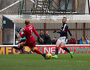 Dundee's Marcus Haber is denied by Motherwell's Craig Samson - Motherwell v Dundee, Fir Park, Motherwell, Photo: David Young<br /> <br />  - © David Young - www.davidyoungphoto.co.uk - email: davidyoungphoto@gmail.com