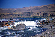 Native Americans dipnet fishing for Salmon at the Cul-De-Sac of Celilo Falls on the Columbia River in Oregon. netting salmon at Coills Falls on the Columbia River, August 21, 1953. This famed fishing site was later submerged by the Dalles Dam and is now underwater as Lake Celilio.  For 11,000 years, Celilo Falls was the most significant economic and cultural hub for native peoples on the Columbia. It was located east of the modern city of The Dalles. An estimated 15 to 20 million salmon passed through the falls every year, making it one of the greatest fishing sites in North America. The falls were strategically located at the border between Chinookan and Sahaptian speaking peoples and served as the center of an extensive trading network across the Pacific Plateau. It was the oldest continuously inhabited community on the North American continent until 1957, when it was submerged by the construction of The Dalles Dam and the native fishing community was displaced.