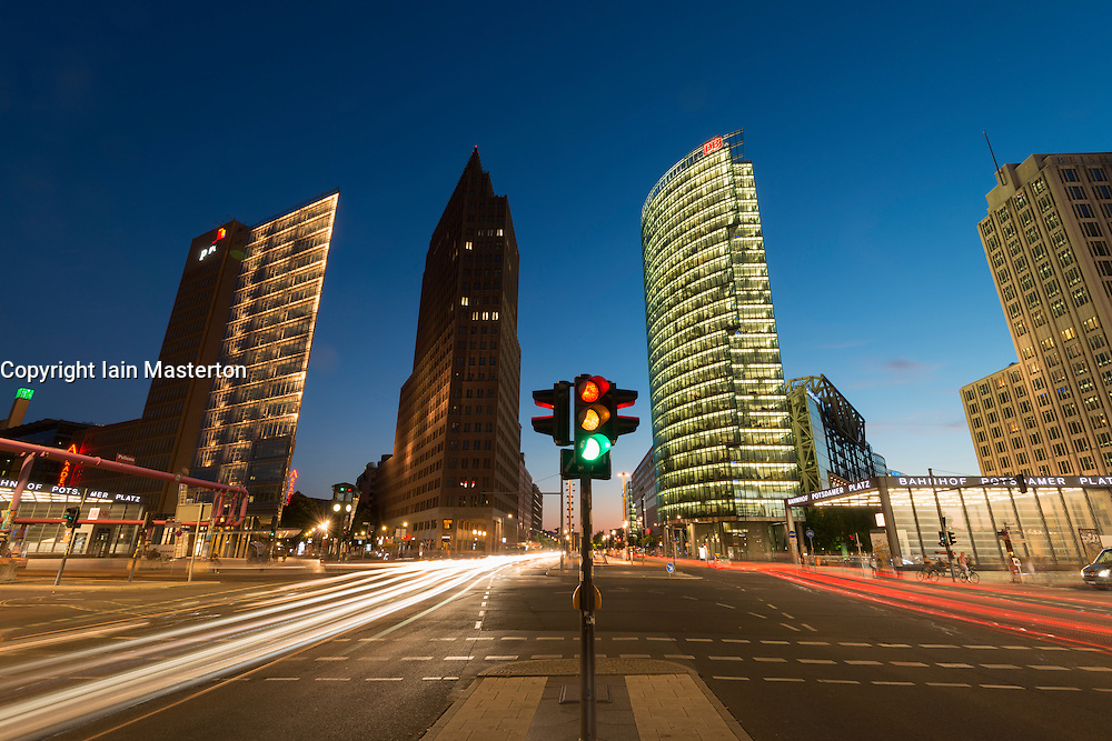 Night view of skyline of high rise buildings in Potsdamer Platz in Mitte Berlin Germany