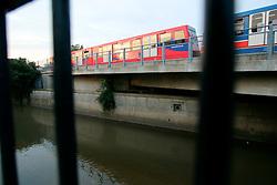 UK ENGLAND LONDON 14AUG06 - Docklands Light Railway station next to the urban river Ravensbrook running near Brookmill Park in Lewisham, south London...jre/Photo by Jiri Rezac..© Jiri Rezac 2006..Contact: +44 (0) 7050 110 417.Mobile:  +44 (0) 7801 337 683.Office:  +44 (0) 20 8968 9635..Email:   jiri@jirirezac.com.Web:    www.jirirezac.com..© All images Jiri Rezac 2006 - All rights reserved.