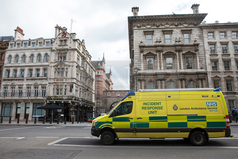 © Licensed to London News Pictures. 13/03/2018. London, UK. An Incident Response Unit on Whitehall as police investigate reports of a suspicious substance in the Norman Shaw Building. A similar incident was reported in the same building yesterday. Photo credit: Rob Pinney/LNP