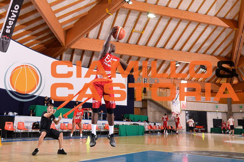 Rakim Sanders <br /> EA7 Emporio Armani Olimpia Milano allenamento<br /> Lega Basket Serie A 2016/2017<br /> Bormio 03/09/2016<br /> Foto Ciamillo-Castoria