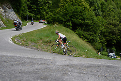 Kasia Niewiadoma's lead is coming down as the top of the climb approaches at Giro Rosa 2016 - Stage 6. A 118.6 km road race from Andora to Alassio, Italy on July 7th 2016.