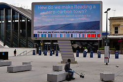 Large signage outside Reading Station showing new station pedestrian area. Reading Council aiming for a zero-carbon town. Easing of Coronavirus lockdown, Reading, UK 12 June 2020