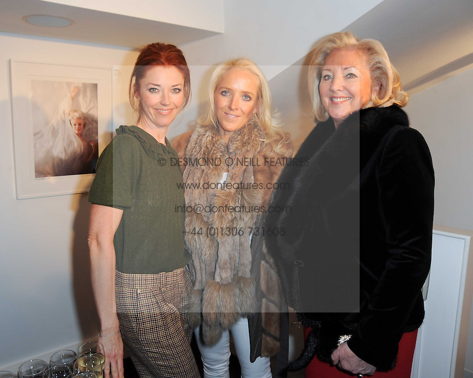 Left to right, TAMARA BECKWITH, PAULA BECKWITH and CLARE VAN DAM at a private view of photographs held at the Little Black Gallery, Park Walk, London on 20th January 2010.
