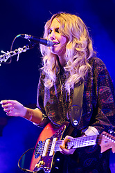 """© Licensed to London News Pictures. 11/05/2012. London, UK. Ladyhawke performs live at O2 Shepherd's Bush Empire.  Phillipa Margaret """"Pip"""" Brown (born 13 July 1979), better known by her stage name Ladyhawke, is a New Zealand singer-songwriter and multi-instrumentalist.  Photo credit : Richard Isaac/LNP"""