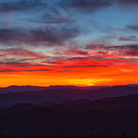 Magnificent sunset on the Blue Ridge Parkway! The Cowee Mountains Overlook was the vantage point. Near Brevard, North Carolina
