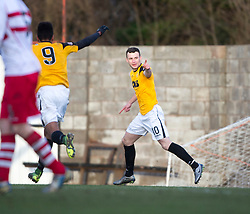 East Fife&rsquo;s Kevin Smith cele scoring their goal. <br /> East Fife 1 v 0 Stirling Albion, Scottish Football League Division Two game played atBayview Stadium, 20/2/2106.