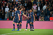 Moussa DIABY (PSG) scored a goal and celebrated it with Adrien Rabiot (PSG), Christopher Alan NKUNKU (PSG), Julian Draxler (PSG) during the French Championship Ligue 1 football match between Paris Saint-Germain and AS Saint-Etienne on September 14, 2018 at Parc des Princes stadium in Paris, France - Photo Stephane Allaman / ProSportsImages / DPPI
