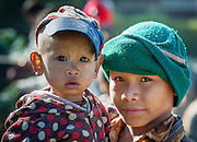 Two young brothers at local market in Inle Lake (Myanmar)