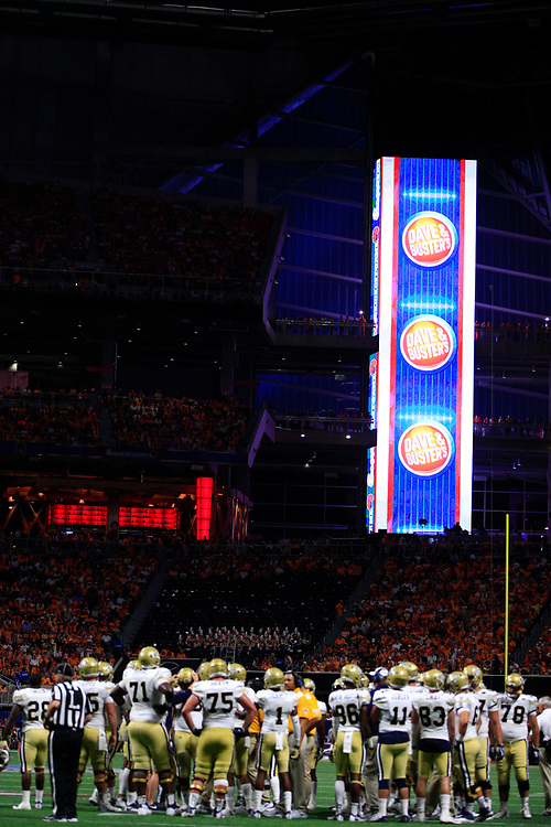 during the first half of the Chick-fil-A Kickoff NCAA football game on Monday, September 4, 2017, in Atlanta. (Paul Abell via Abell Images for Chick-fil-A Kickoff Game)