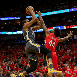 May 4, 2018; New Orleans, LA, USA; Golden State Warriors forward Kevin Durant (35) shoots oer New Orleans Pelicans forward Solomon Hill (44) during the first quarter in game three of the second round of the 2018 NBA Playoffs at Smoothie King Center. Mandatory Credit: Derick E. Hingle-USA TODAY Sports