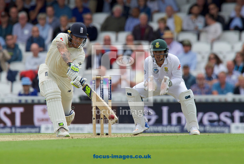 Ben Stokes of England batting watched by Wicketkeeper Quinton de Kock of South Africa  during the 100th Investec Test Match match at the Kia Oval, London<br /> Picture by Alan Stanford/Focus Images Ltd +44 7915 056117<br /> 28/07/2017