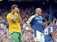 Cardiff - Saturday August 23rd, 2008: Jamie Cureton of Norwich City covers his eyes after missing a penalty to draw level during the first half of the Coca Cola Championship match at The Ninian Park, Cardiff. (Pic by Paul Hollands/Focus Images)