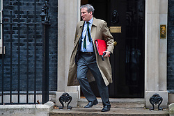 Secretary of State for Education, Damian Hinds, leaves number 10 Downing Street, London, after a cabinet meeting ahead of today's debate and vote on Brexit in the House of Commons. Picture date: Tuesday March 12, 2018. Photo credit should read: Matt Crossick/Empics