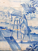 Blue and white azulejo tiles pictures related to geometry and mathematics, University of Evora, Portugal