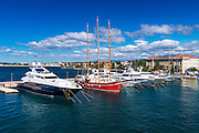 Yachts and sailboats in Zadar Harbor, Dalmatian Coast, Croatia