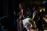 LOS ANGELES, CA - OCTOBER 22, 2016:  <br /> <br /> Women in the top 10 wait in the wings while a duet performs Lady Gaga's &quot;Born This Way&quot; and the judges scores are tabulated, during the Transnation Queen USA 2016 pageant, a transgender beauty pageant held at The Theater at The Ace Hotel in downtown Los Angeles.<br /> <br /> (Melissa Lyttle for The Guardian)