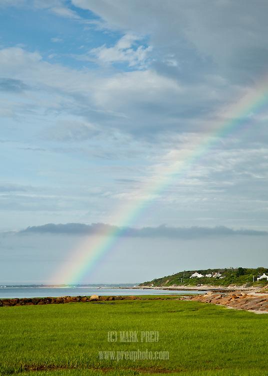 A rainbow seen looking from Paine's Creek toward Robbins Hill Beach.