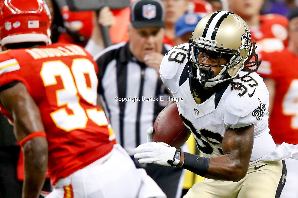 Aug 9, 2013; New Orleans, LA, USA; New Orleans Saints running back Travaris Cadet (39) runs against the Kansas City Chiefs during the second quarter of a preseason game at the Mercedes-Benz Superdome. Mandatory Credit: Derick E. Hingle-USA TODAY Sports