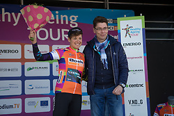Barbara Guarischi (ITA) of CANYON//SRAM Racing won the Best Sprinter's orange jersey after Stage 5 of the Healthy Ageing Tour - a 117.9 km road race, starting and finishing in Borkum on April 9, 2017, in Groeningen, Netherlands.