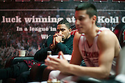 MADISON, WI-NOV. 7, 2016: (left to right) UW basketball players Jordan Hill and Bronson Koenig discuss social issues in the players lounge at the University of Wisconsin Monday, Nov. 7, 2016. Lauren Justice for The New York Times