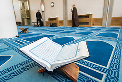 © Licensed to London News Pictures. 03/03/2019. LONDON, UK. A copy of the Koran placed on a stand during Visit My Mosque Day at London Central Mosque near Regent's Park.  Over 150 mosques across the UK have held open days backed by the Muslim Council of Britain (MCB), to show non-Muslims more about the religion and its part in the local community.  Photo credit: Stephen Chung/LNP