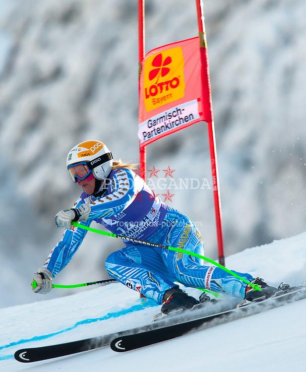 05.02.2012, Kandahar, Garmisch Partenkirchen, GER, FIS Weltcup Ski Alpin, Damen, SuperG, im Bild Anja Paerson (SWE) // Anja Paerson of Sweden during SuperG race of FIS Ski Alpine World Cup at 'Kandahar' course in Garmisch Partenkirchen, Germany on 2012/02/05. EXPA Pictures © 2012, PhotoCredit: EXPA/ Johann Groder