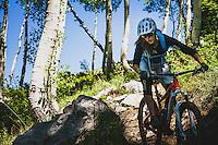 Syd Schulz enjoying the trails at Deer Valley Resort, Wasatch Range, Utah.