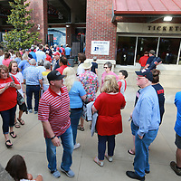 Fans begin to line up outside the gates of Swayze Field in Oxford Friday for the Ole Miss game against Jacksonville State.