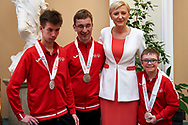 Warsaw, Poland - 2017 March 31: (2R) First Lady Agata Kornhauser-Duda poses with (R) Antoni Wiercioch and Special Olympics Athlete while meeting at Polish President's Palace on March 31, 2017 in Warsaw, Poland.<br /> <br /> Mandatory credit:<br /> Photo by © Adam Nurkiewicz / Mediasport<br /> <br /> Adam Nurkiewicz declares that he has no rights to the image of people at the photographs of his authorship.<br /> <br /> Picture also available in RAW (NEF) or TIFF format on special request.<br /> <br /> Any editorial, commercial or promotional use requires written permission from the author of image.<br /> <br /> Image can be used in the press when the method of use and the signature does not hurt people on the picture.