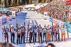 22.02.2020, Suedtirol Arena, Antholz, ITA, IBU Weltmeisterschaften Biathlon, Herren, 4 x 7,5 km Staffel, im Bild v.l. Johannes Thingnes Boe (NOR), Tarjei Boe (NOR), Johannes Dale (NOR), Vetle Sjaastad Christiansen (NOR), Martin Fourcade (FRA), Simon Desthieux (FRA), Emilien Jacquelin (FRA), Quentin Fillon Maillet (FRA), Erik Lesser (GER), Benedikt Doll (GER), Arnd Peiffer (GER), Philipp Horn (GER) // f.l. Johannes Thingnes Boe Tarjei Boe Johannes Dale Vetle Sjaastad Christiansen of Norway Martin Fourcade Simon Desthieux Emilien Jacquelin Quentin Fillon Maillet of France Erik Lesser Benedikt Doll Arnd Peiffer and Philipp Horn of Germany during men's 4 x 7,5 km Relay of IBU Biathlon World Championships 2020 at the Suedtirol Arena in Antholz, Italy on 2020/02/22. EXPA Pictures © 2020, PhotoCredit: EXPA/ Stefan Adelsberger