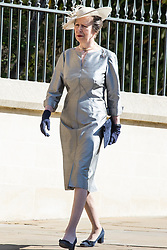Windsor, UK. 21st April 2019. Princess Anne, Princess Royal, arrives to attend the Easter Sunday service at St George's Chapel in Windsor Castle.
