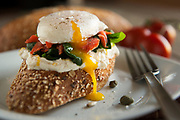 Try this light poached egg with salmon on a bagette by Chef Ryan Trinkofsky in West Palm Beach, Florida.  Photography by Jeffrey A McDonald