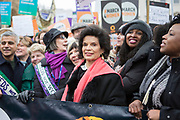 UNITED KINGDOM, London: 04 March 2018 Bianca Jagger joins thousands of supporters during the #March4Women rally in London this afternoon. Thousands of people marched from Parliament to Trafalgar Square to celebrate International Women's Day and 100 years since the first women in the UK gained the right to vote. <br /> Rick Findler / Story Picture Agency