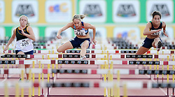 Stellenbosch. 160416 Claudia Heunis, centre winning the womens 100m  hurdles final during the ASA Senior track and field Championships held at Coetzenberg in Stellenbosch. Picture Leon Lestrade