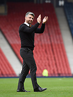 Motherwell Manager Stephen Robinson celebrates at full time in the match between Motherwell v Aberdeen, William Hill Scottish Cup (SFA) - Semi-Final at Hampden Park. Saturday 14 April 2018, COLORSPORT