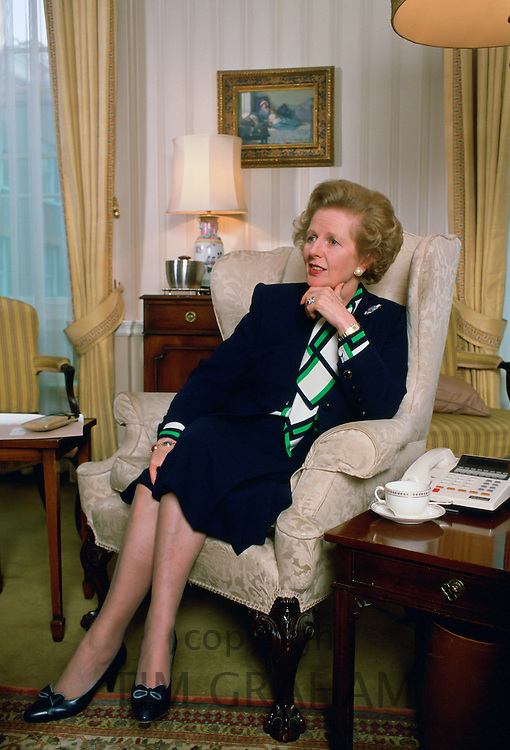 Former Prime Minister Margaret Thatcher in the living room at 10 Downing Street, London, United Kingdom