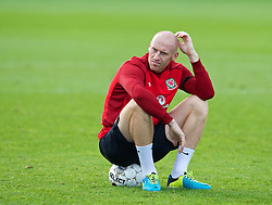 CARDIFF, WALES - Monday, October 14, 2013: Wales' James Collins during a training session at the Vale of Glamorgan ahead of the 2014 FIFA World Cup Brazil Qualifying Group A match against Belgium. (Pic by David Rawcliffe/Propaganda)