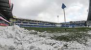 FODBOLD: Banen er ryddet og klar til kampen i ALKA Superligaen mellem Randers FC og FC Helsingør den 28. februar 2018 på BioNutria Park Randers. Foto: Claus Birch.