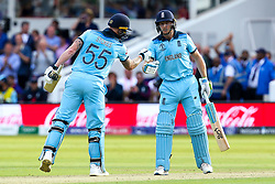 Jos Buttler of England and Ben Stokes of England fist bump - Mandatory by-line: Robbie Stephenson/JMP - 14/07/2019 - CRICKET - Lords - London, England - England v New Zealand - ICC Cricket World Cup 2019 - Final