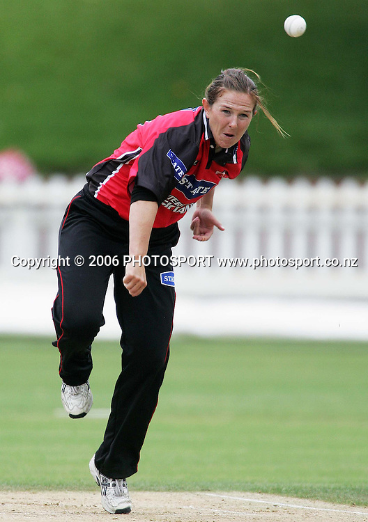 Canterbury bowler Sarah Burke bowls during the State League womens cricket final between the State Wellington Blaze and the State Canterbury Magicians held at the Basin Reserve in Wellington, New Zealand on Saturday, 27 January, 2007. Photo: Tim Hales/PHOTOSPORT
