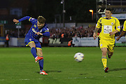 Jake Reeves midfielder for AFC Wimbledon makes an effort on goal during Sky Bet League 2 Play-Off first leg match between AFC Wimbledon and Accrington Stanley at the Cherry Red Records Stadium, Kingston, England on 14 May 2016. Photo by Stuart Butcher.